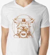 Vitruvian Drummer Man Men's V-Neck T-Shirt
