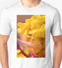 Defocused and blurred macro view of yellow cornflake T-Shirt
