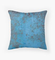 Blue rust texture - blue rusty metal background Throw Pillow