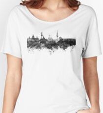 Hannover skyline in black watercolor Women's Relaxed Fit T-Shirt
