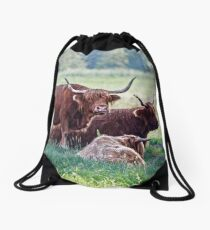 Highland cattle cows family on pasture Drawstring Bag
