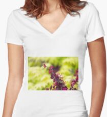 maple in spring Women's Fitted V-Neck T-Shirt
