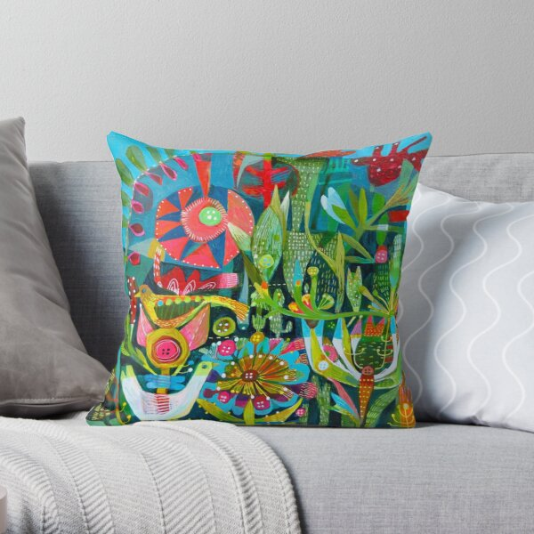Birds and Buttons Throw Pillow