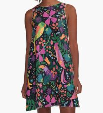 Enchanted Tiki Birds  A-Line Dress