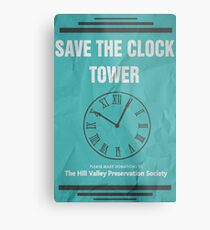 Save the Clock Tower (Back to the Future Print) Metal Print