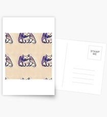 sitting tabby car cartoon Postcards