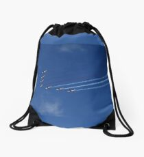 Squadron of seven aircraft against blue sky Drawstring Bag
