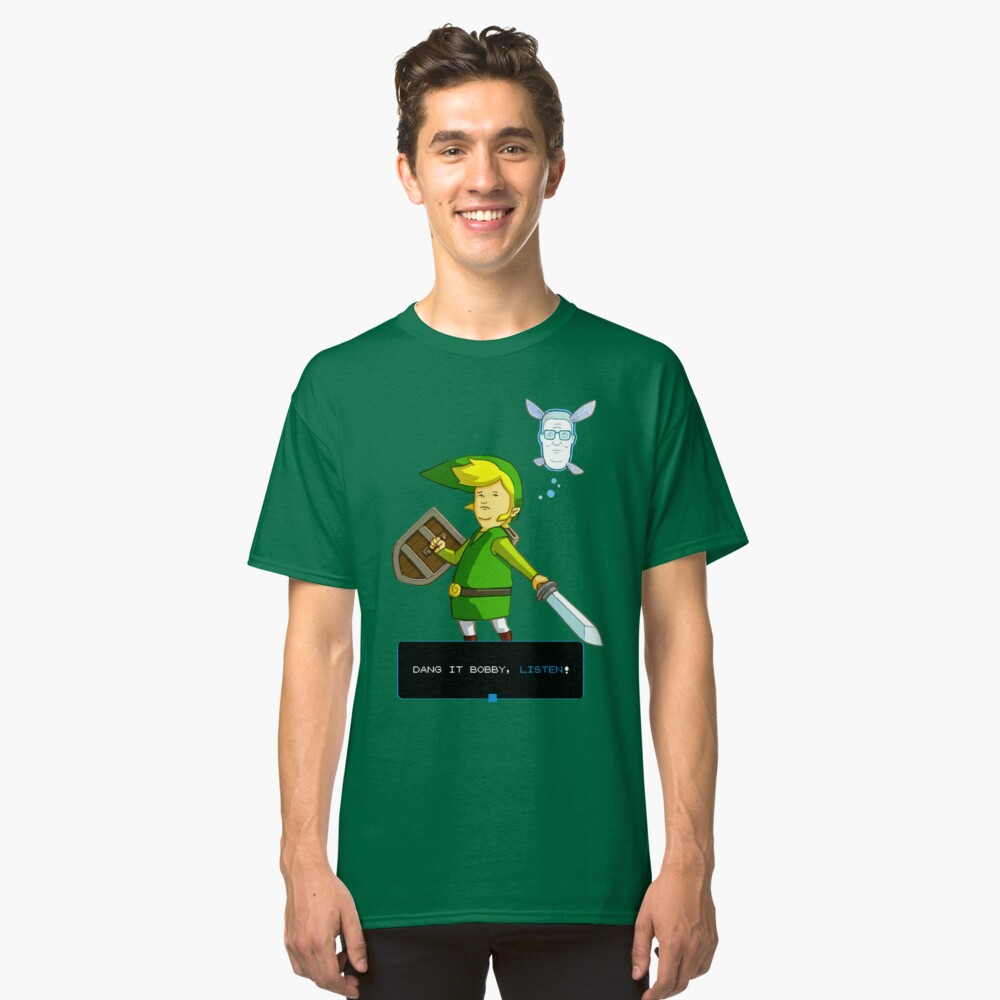 Rey de la colina - Enlace de Zelda y Navi - Parodia - Dang it Bobby, escucha! Camiseta clásica