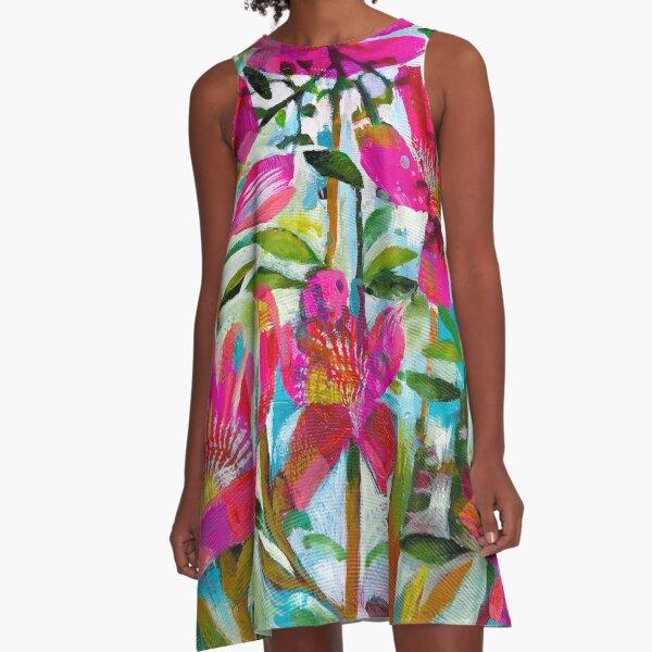 Blumen- A-Linien Kleid