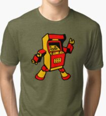 arcade robot gaming gamer funny geek  Tri-blend T-Shirt