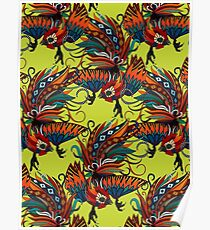 rooster ink chartreuse Poster
