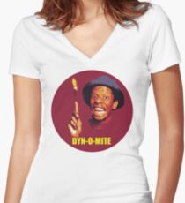 DYN-O-MITE.  Women's Fitted V-Neck T-Shirt