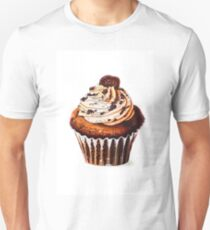 Watercolor painting - cupcakes with chocolate or coffee cream and biscuits. browns, white background. vertical orientation. Beautiful Cake made with alcohol markers. Food-illustration. T-Shirt