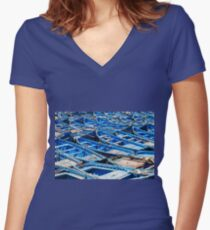 Blue fishing boats harbour Women's Fitted V-Neck T-Shirt