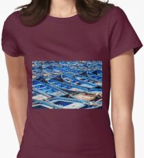 Blue fishing boats harbour Womens Fitted T-Shirt