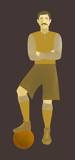 Vintage Football or Soccer Player by HeliconHill