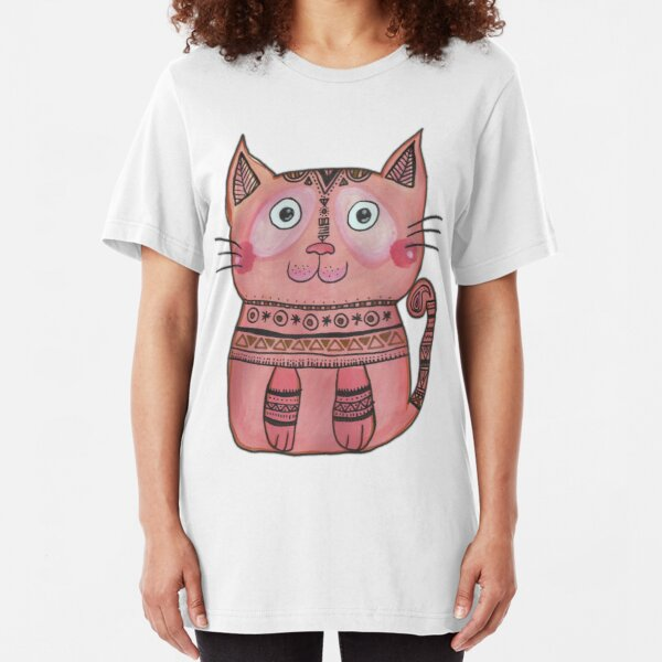 Tribal Cat  Slim Fit T-Shirt