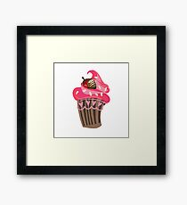 pink strawberry chocolate cupcake Framed Print