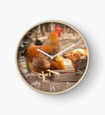 Rhode Island Red rooster Clock