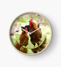 Rhode Island Red chickens couple Clock