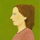 Profile Portrait in Pink and Green by HeliconHill