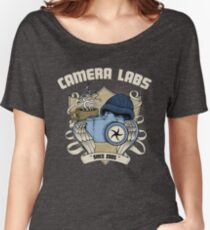Cameralabs Photography Crest (Camera, Coffee, Beanie) Women's Relaxed Fit T-Shirt