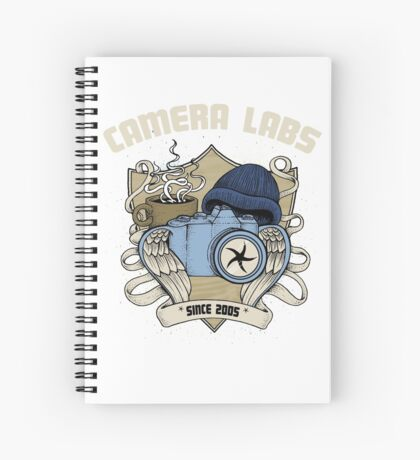 Cameralabs Photography Crest (Camera, Coffee, Beanie) Spiral Notebook