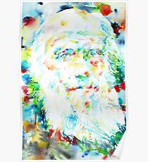 Póster CHARLES DARWIN - retrato de acuarela