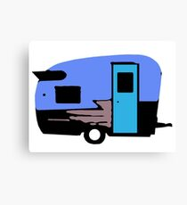 Vintage Camper Trailer Blue Canvas Print