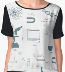 Seamless pattern with variety scientific, education elements: globe, microscope,magnet, flask, molecule and other. Chiffon Top
