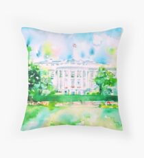 WHITE HOUSE - watercolor portrait Throw Pillow