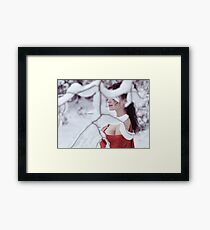 Woman in red kimono with bare shoulders in winter snow art photo print Framed Print