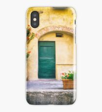 Italian facade with geraniums iPhone Case/Skin