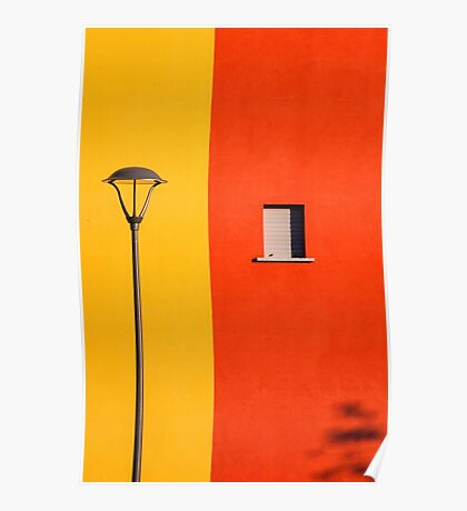 Streetlamp, window and wall Poster