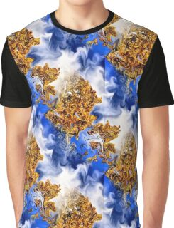 Abstract Clouds And Golden Leaves Design Graphic T-Shirt
