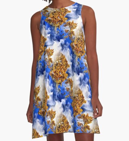 Abstract Clouds And Golden Leaves Design A-Line Dress
