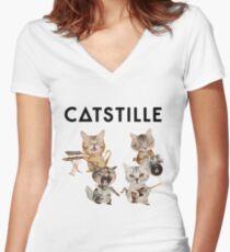 CATSTILLE Women's Fitted V-Neck T-Shirt