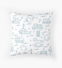 Vector illustration kids toys objects: train, puzzle, designer, boat, car, whale and other. Throw Pillow