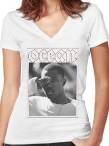pink + white Women's Fitted V-Neck T-Shirt