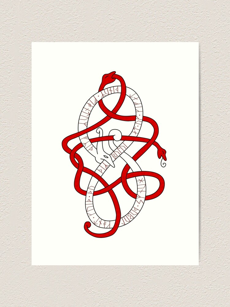 Viking Knot Work Dragon With Younger Futhark Runic Inscription Art Print By S3w4g3 Redbubble