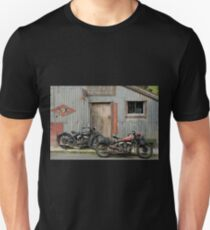 Indian Chout and Chief Bobber at the old Okains Bay Garage Unisex T-Shirt