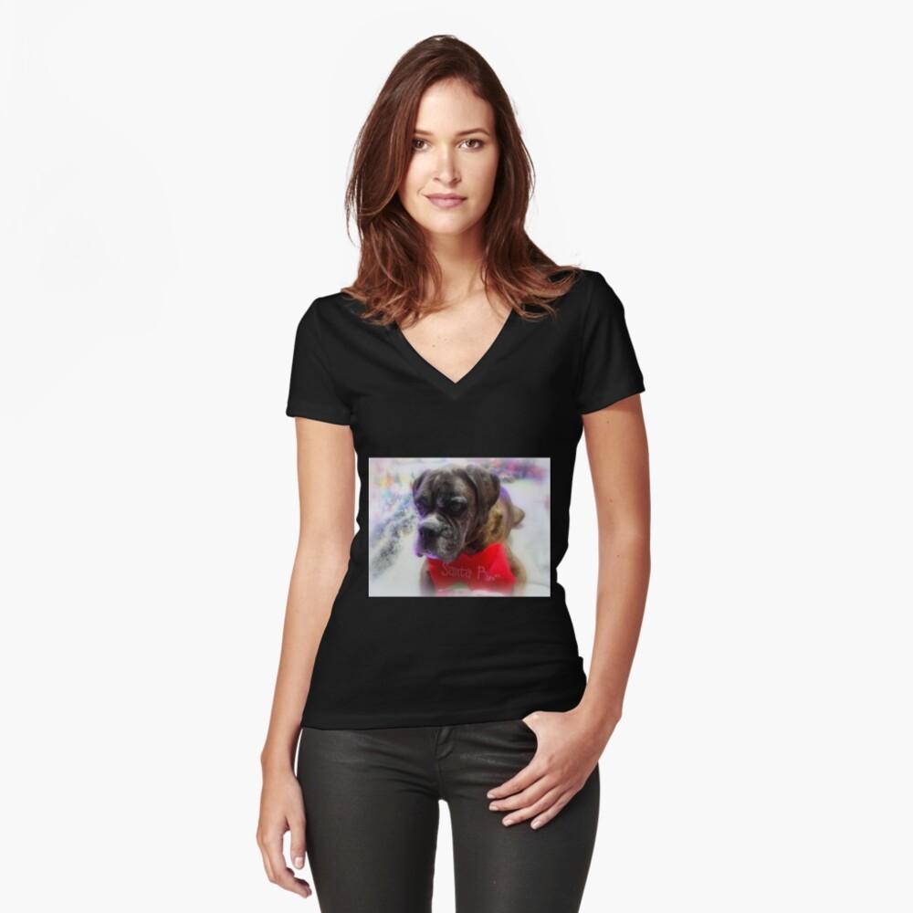 Mein Strumpf bereit für Santa - Boxer Dogs Series Tailliertes T-Shirt mit V-Ausschnitt