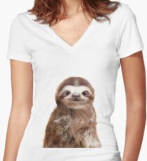 Little Sloth Fitted V-Neck T-Shirt