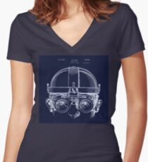 Vintage Welders Goggles blueprint detail drawing Women's Fitted V-Neck T-Shirt