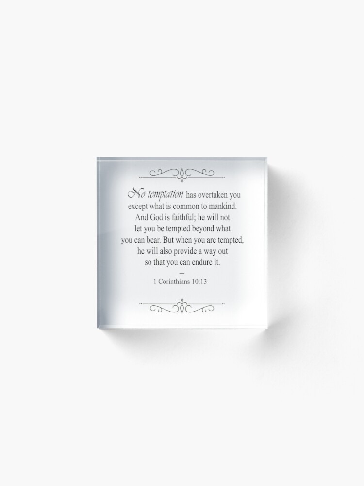 Alternate view of 1 Corinthians 10:13 Bible Verse Acrylic Block