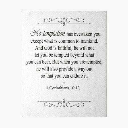 1 Corinthians 10:13 Bible Verse Art Board Print