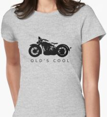Old's Cool - Vintage Motorcycle Silhouette (Black) Women's Fitted T-Shirt