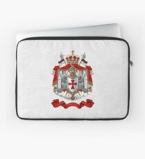Knights Templar - Coat of Arms over White Leather Laptop Sleeve