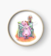 Hippo playing the Piano Pencil Drawing of Music Animal Clock