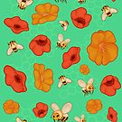 Poppies & Bees by AJonson
